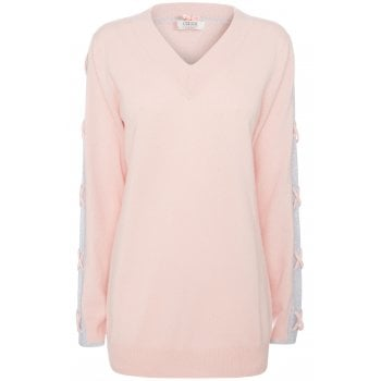 Cocoa Cashmere Jumper in Pink with Grey Plaited Detail CC2061
