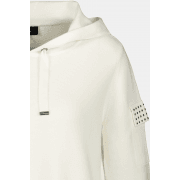 Monari White Hoodie with studded pockets