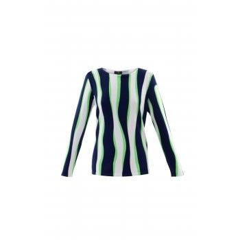 Marble Green & White Stripe Sweater - 6005