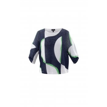 Marble Green & Navy Top with Vest - 6089