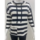 Monari Navy & White Stripe Top 405991