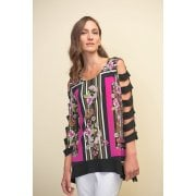 Joseph Ribkoff Pink & Black Top - 211325