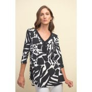 Joseph Ribkoff  Black & White Print Top Tunic - 211285